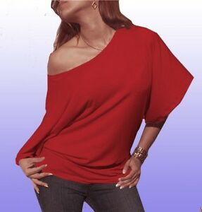 c39d60023a3a7 New sexy casual red shirt off shoulder blouse kimono sleeve top ...