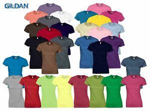 Gildan-Womens-Ladies-Soft-Style-Plain-V-Neck-T-Shirt-Cotton-Tee-Tshirt