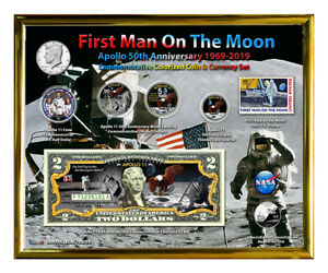 Apollo-11-50th-Anniversary-Colorized-Coin-amp-Currency-Set-in-8-034-x-10-034-Frame