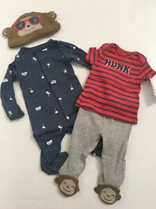 678a28ec71a Carters Baby Boy Monkey Coverall Hat Pants Set Size Newborn 3 6 9 ...
