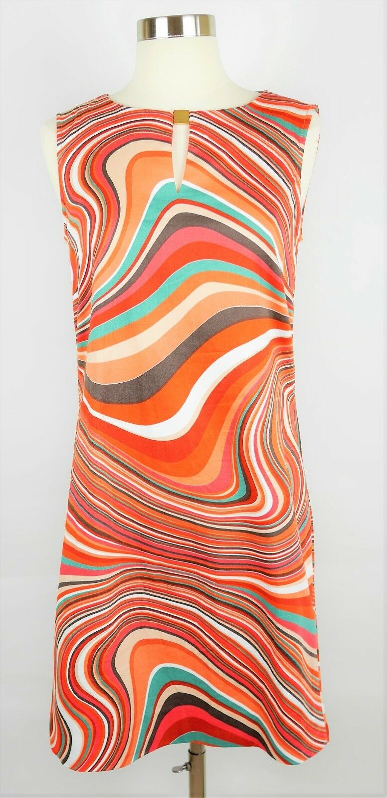 TAHARI ASL Größe 4 - Orange & TEAL SWIRLS SLEEVELESS SHIFT DRESS - Knee Length