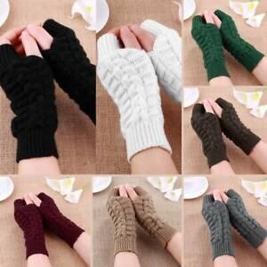 Women-Ladies-Winter-Warm-Fingerless-Wrist-Arm-Gloves-Knitted-Soft-Hand-Mitten-UK