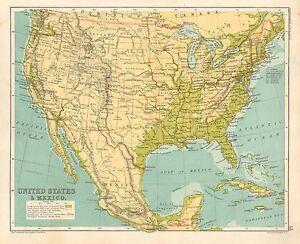 1891 VICTORIAN MAP ~ UNITED STATES &A MEXICO ~ NEBRASKA NEVADA OREGON CUBA TEXAS