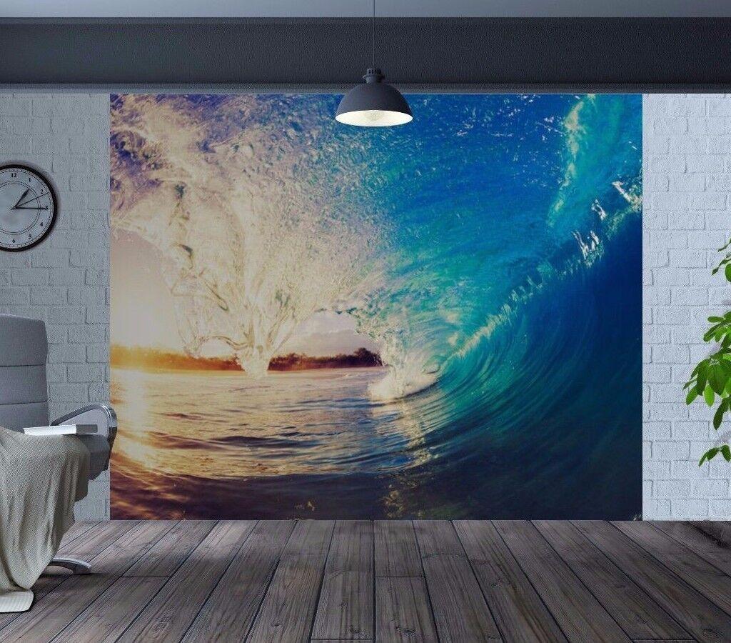Stunning surfers eye view riding an ocean wave wallpaper wall mural (34580439)