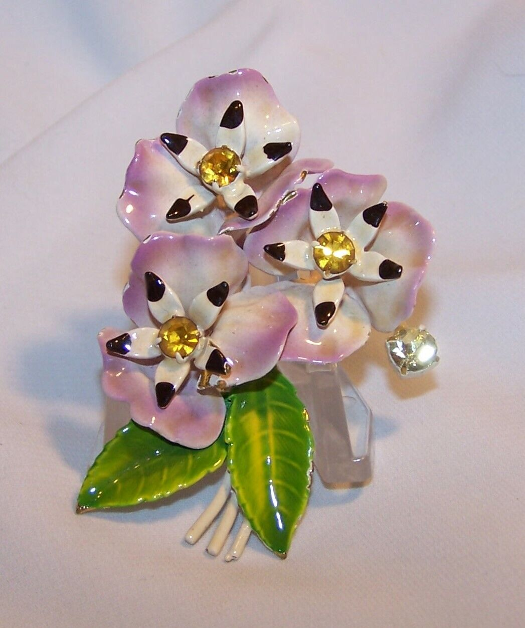 Vintage Enamel Rhinestone Flower Pin/Brooch-Pansy… - image 4