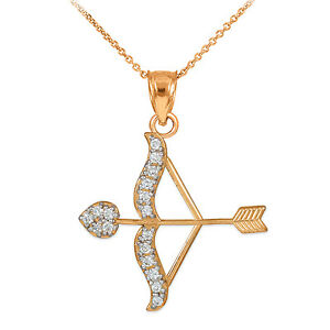 10k Rose Gold Cupid Arrow Bow Love Heart Pendant with 0.26 ct. Diamonds