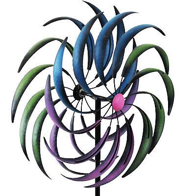 Windrad Windmühle Windspiel Gartendeko mit Erdspieß Metallwindrad Windlotus