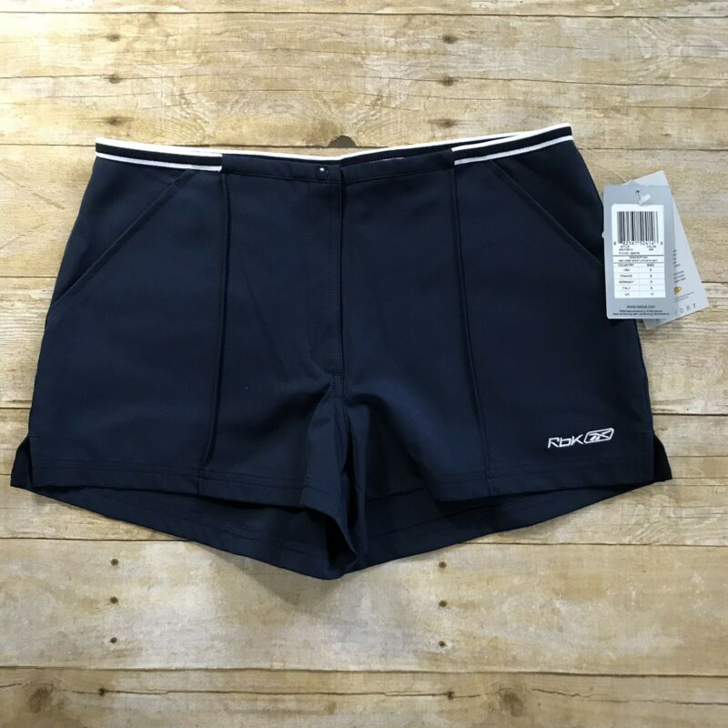 Have An Inquiring Mind Reebok Womens Playdry Upset Athletic Navy Blue Relaxed Fit Shorts Size Small
