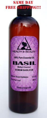 BASIL ESSENTIAL OIL METHYL CHAVICOL AROMATHERAPY NATURAL 100% PURE 12 OZ