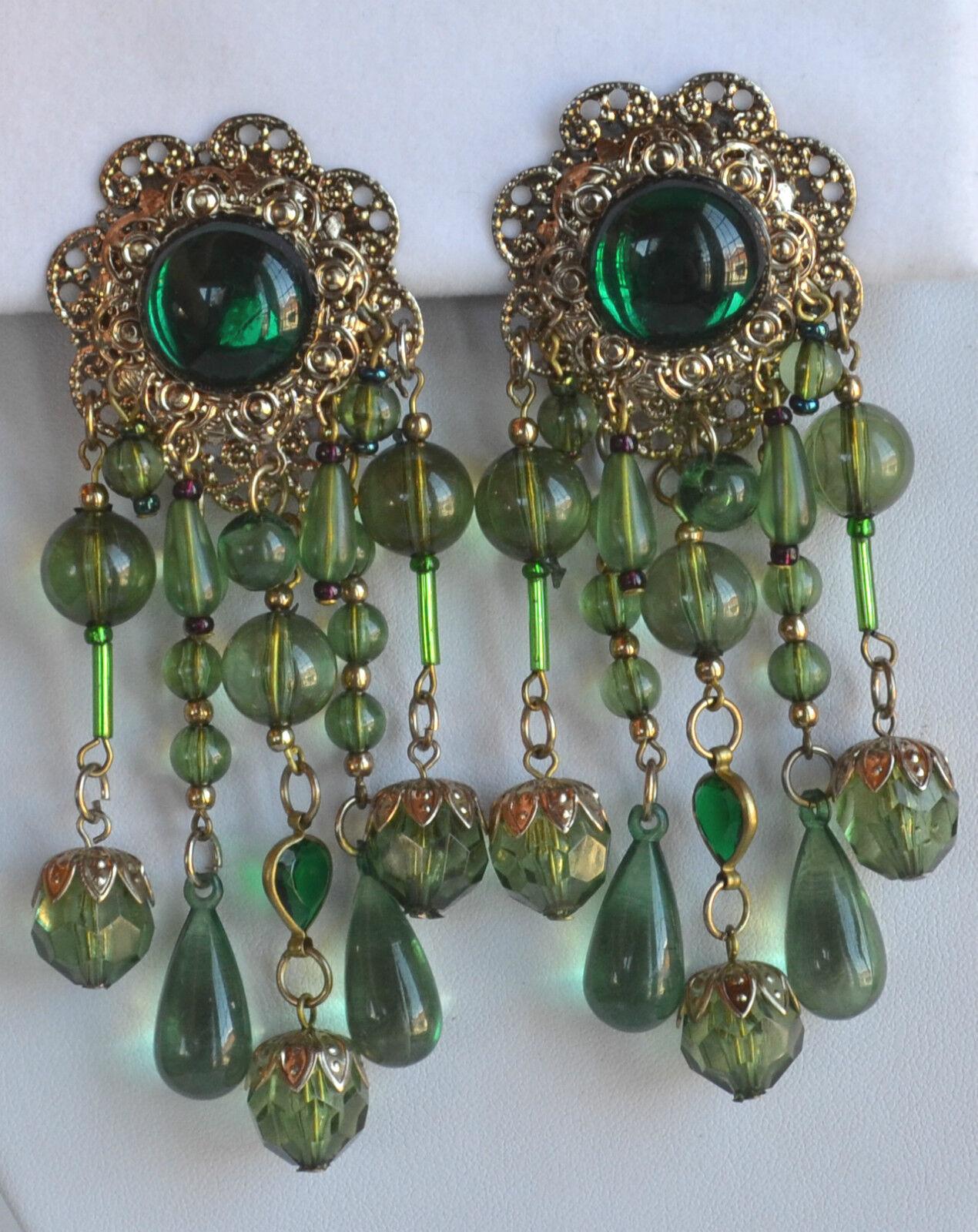 Vintage STATEMENT shoulder clip EARRINGS GREEN TRANSLUCENT PLASTIC gold filigree
