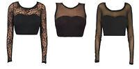 Womens stretch crop top longsleeve & sleeveless crop top