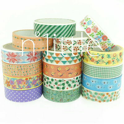 16 Patterns Paper Washi Tape Masking Adhesive Roll Decorative Card Craft #WT-02