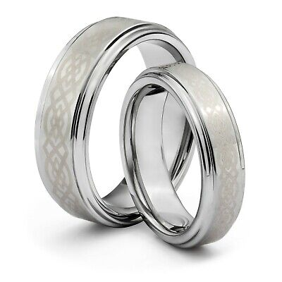 His /& Hers 8MM//6MM Tungsten Carbide Wedding Band Ring Set w//Laser Etched Celtic Design