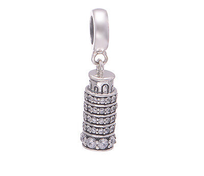 LEANING TOWER OF PISA 925 Sterling Silver Solid Charm Bead for Bracelet