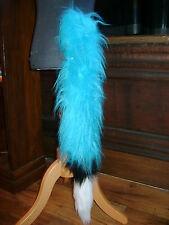 Turquoise Blue Luxury Fur Fox Tail With White/Black Luxury Fur Trim Fancy Dress
