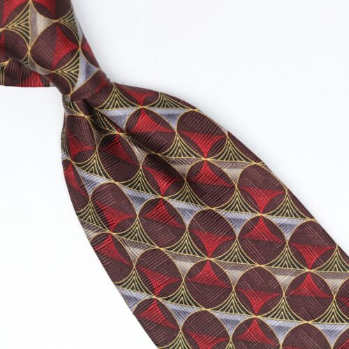 GC Internazionale Men Silk Necktie Dark Red Gray Gold Geometric Print Tie Italy