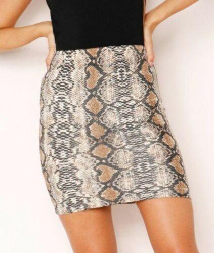 New Womens Snake Print Stretch Ladies Short Mini Ladies Bodycon Skirts Size 6-18