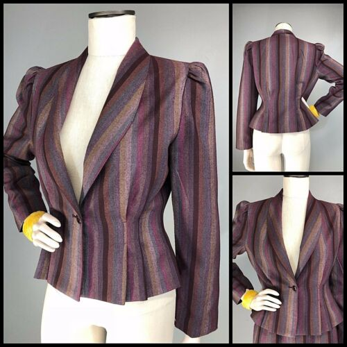 VTG 70s Does 40s Does Victorian Ombre Stripe Peplu