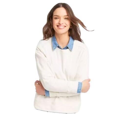 Women/'s Sweatshirt Universal Threads Pullover Sweater Cream Large Long Sleeve