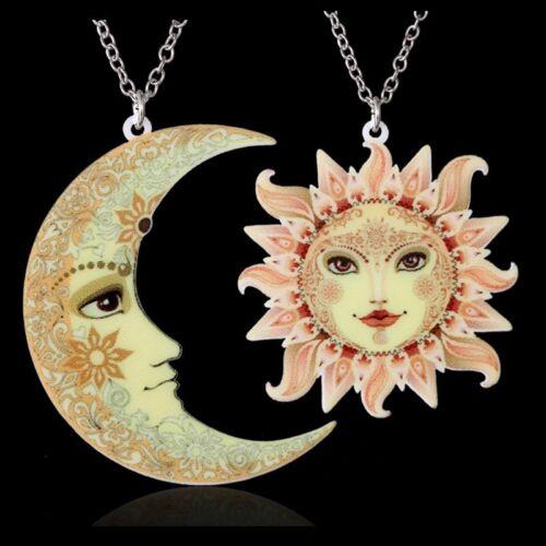 Handmade Women Sweater Chain Jewelry Printing Flower Moon Sun Pendant Necklace