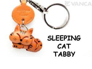 Tabby-Cat-Sleeping-Handmade-3D-Leather-Keychain-Charm-VANCA-Made-in-Japan-56404