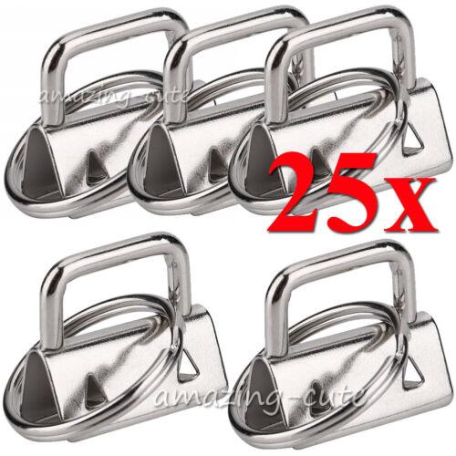 Schlüsselband Rohling Schlüsselanhänger Klemmschließe 25mm 32 mm Gurtband Silber