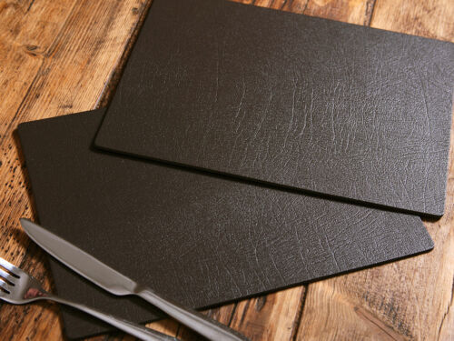 Set of 8 ARTISAN BROWN Bonded Leather PLACEMATS Made In UK TABLE MATS Dining