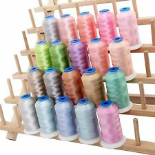 RAYON MACHINE EMBROIDERY THREAD SET 20 PASTEL COLORS - 1000M CONES - 40WT