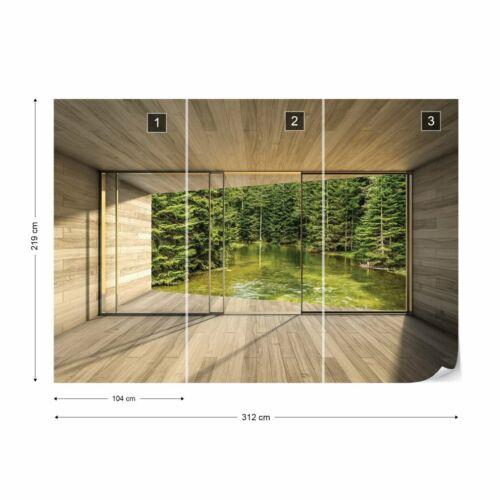 Tapete Vlies Fototapete Natur Landschaft Bach im Wald modernes Fensteransicht