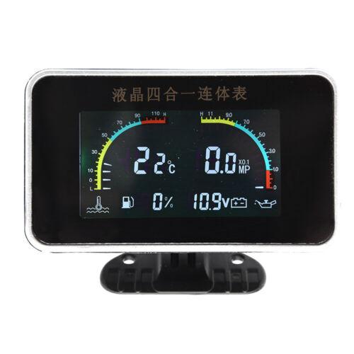 4 In1 Multifunction Car LCD Digital Voltmeter Water Temp Oil Pressure Fuel Gauge