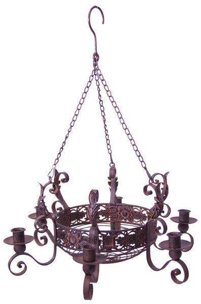 Kronleuchter Hängeleuchter Kerzenleuchter Shabby rostbraun Ø 45cm Deckenleuchter