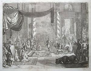 SRI-LANKA-KANDY-EMPEROR-OF-CEYLON-Churchill-039-s-Voyages-antique-print-1744