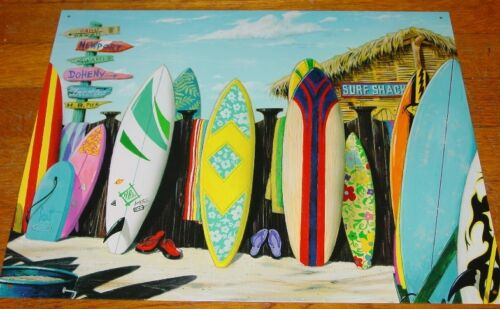 SURF SHACK SURFBOARDS FLIP FLOPS BEACH FENCE Surfing Sign Surfer Home Decor NEW