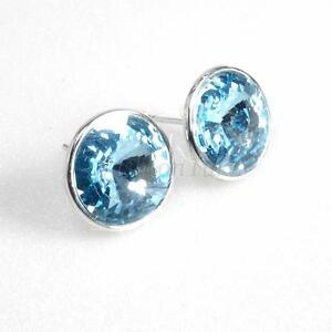 Image Is Loading Men Uni 12mm Swarovski Element Aqua Crystal White