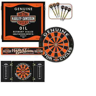 Harley Davidson Oil Can Steel Tip Dartboard Kit w/ FREE Shipping