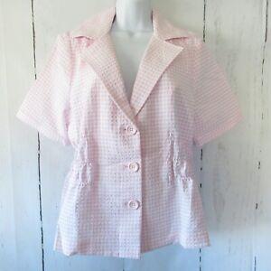 New-Joan-Rivers-Jacket-L-Large-Pink-Gingham-Short-Sleeve-Smocked-Waist-QVC