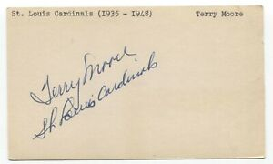 Terry Moore Signed 3x5 Index Card Autographed Baseball 1946 St Louis Cardinals