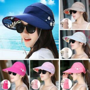 685f8fabc36 Women Lady Visor Hat Summer Sun Beach Ladies Foldable Roll Up Wide ...