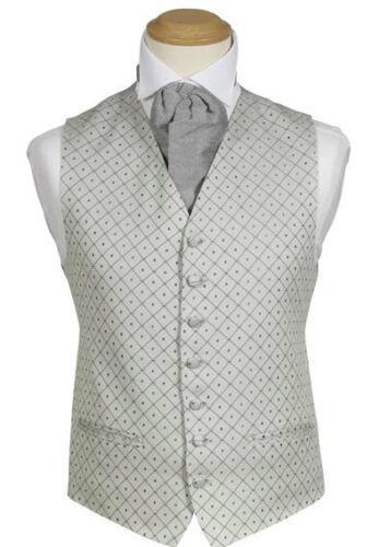 £6.01 MENS WEDDING SILVER GREY DIAMOND DRESS SUIT WAISTCOAT 38 40 42