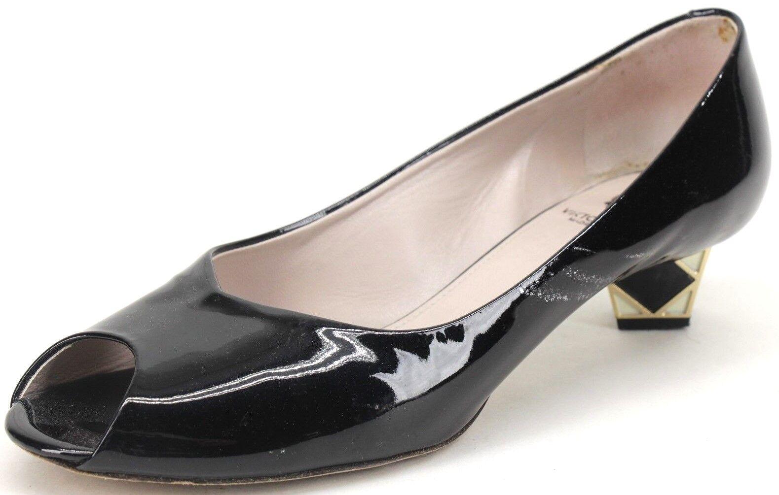 Viktor & Rolf Women's Black Patent Leather Peep Toe Kitten Block Heels