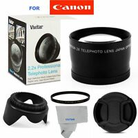 58mm 2x Telephoto +uv Filter+hood + Cap For Canon Ef-s 18-55mm F/3.5-5.6 Is T5