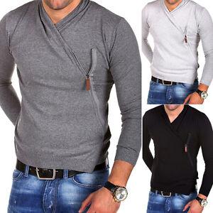 CARISMA-Strickjacke-Side-Zipper-Pullover-Style-Longsleeve-T-Shirt-Grau-Schwarz