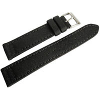 20mm Hadley-Roma MS850 Mens Black Cordura Canvas Watch Band Strap