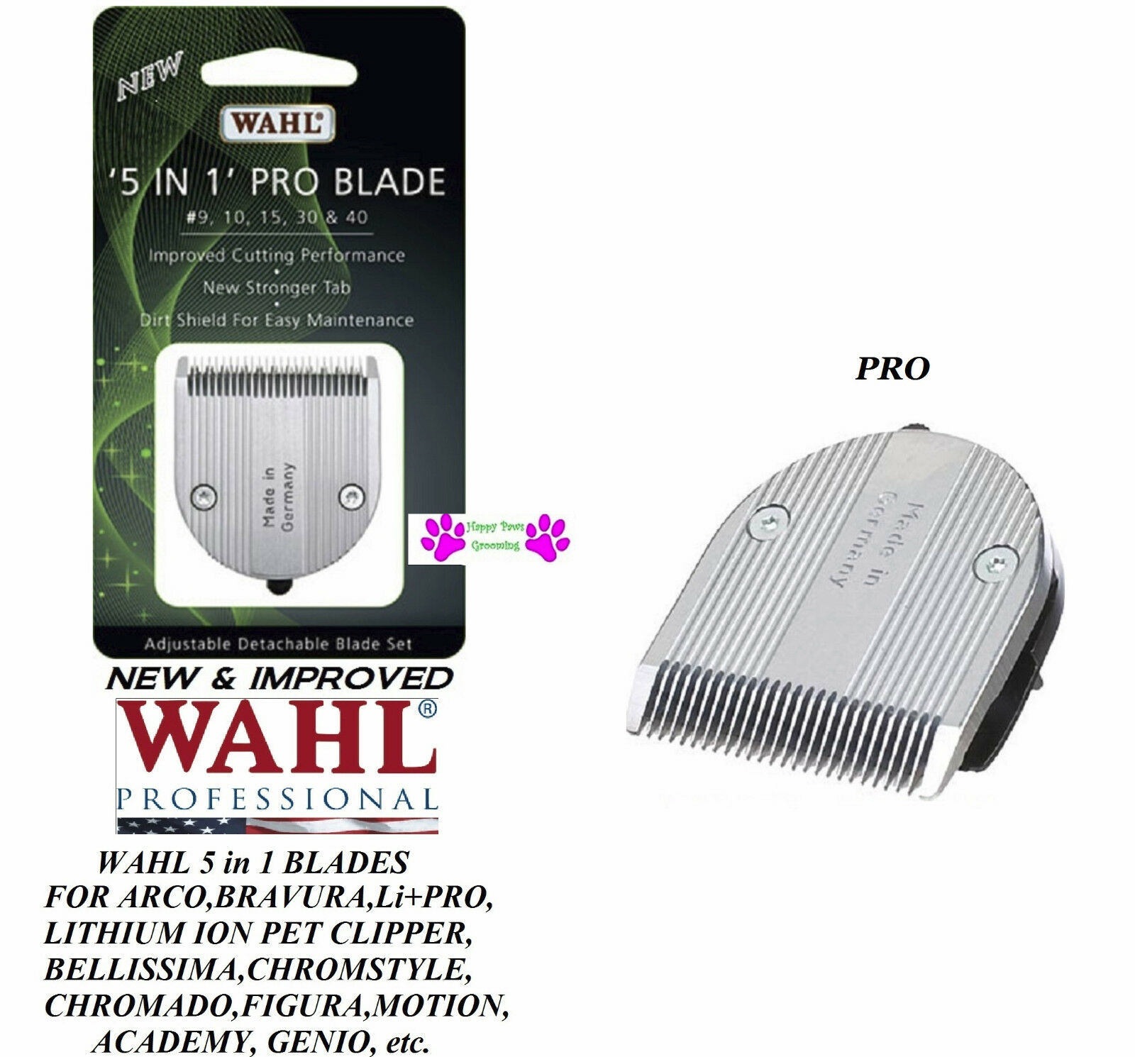 2-NEW&IMPROVED Wahl PRO SERIES 5 in 1 Replacement Blade for ACADEMY,BELLISSIMA