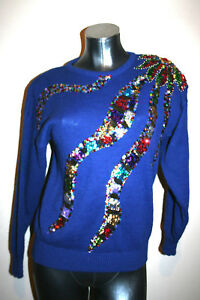 S Gerard impreziosite Christine Artsy maglione piccolo Womens Vtg blu paillettes xHzwIyq