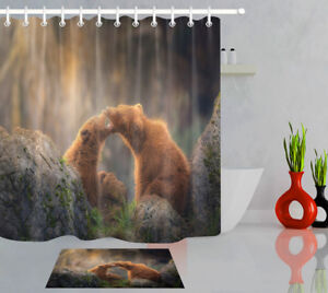 Bathroom Accessories Home & Kitchen Happy Bear Shower Curtain Mould Mildew Resistant Waterproof polyester