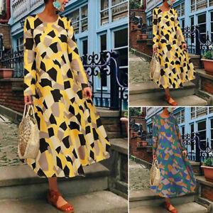 Oversize-Femme-Robe-Mode-Coton-Impression-Geometrique-Manche-Longue-Maxi-Dresse