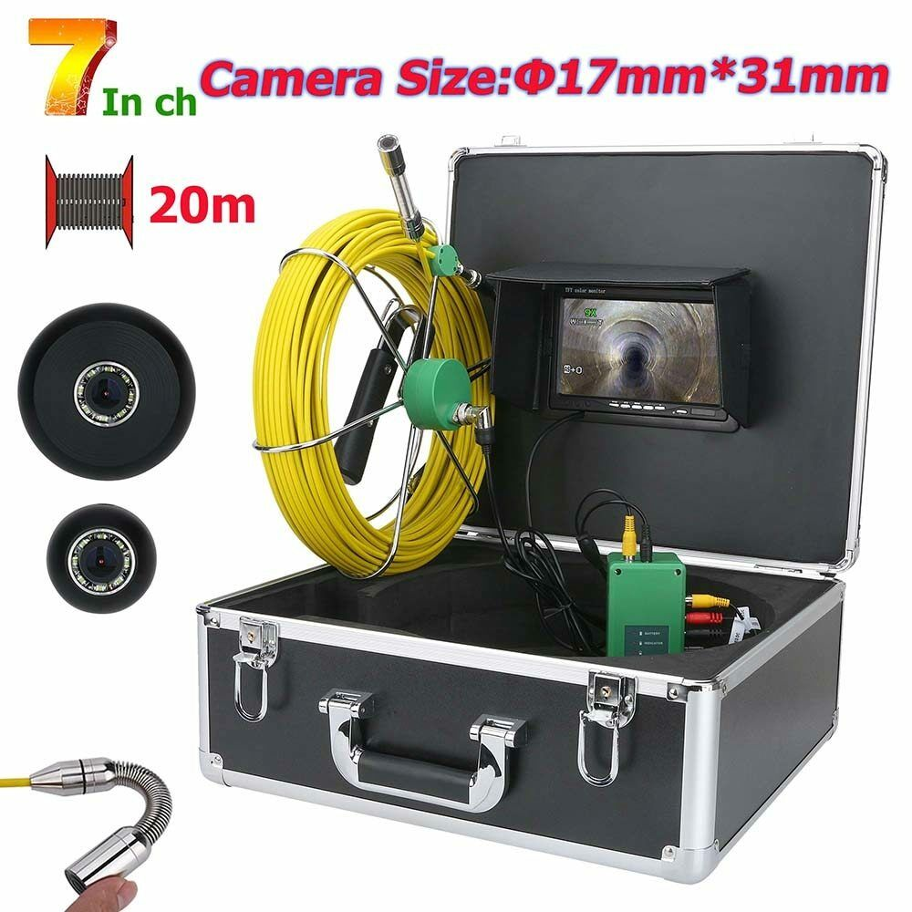 20M 7  17mm Industrial Drain Pipe Sewer Inspection Video Camera  IP68 Waterproof