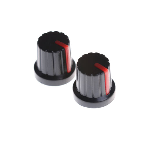 20pcs Red Indication 6mm Shaft Hole Knurled Grip Potentiometer Pot Knobs Caps HF
