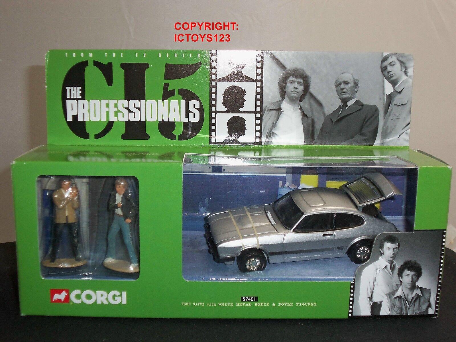 Los profesionales de Corgi 57401 Diecast Modelo Coche Ford Capri De Plata + Figuras De Metal
